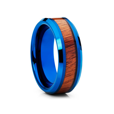 8mm Koa Wood Inlay Tungsten Ring // Blue + Brown (Size 8)