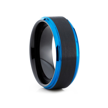 8mm Beveled Black Tungsten Ring // Blue + Black (Size 8)