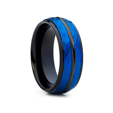 8mm Hammered Dome Tungsten Ring // Blue + Black (Size 8)