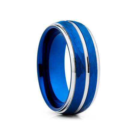 8mm Hammered Tungsten Ring Dome Shape // Blue + Silver (Size 8)