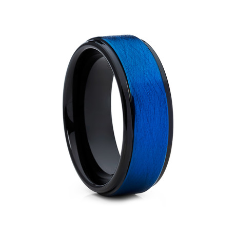 8mm Olivit Tungsten Ring // Blue + Black (Size 10)