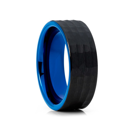 8mm Hammered Flat Tungsten Ring // Blue + Black (Size 8)