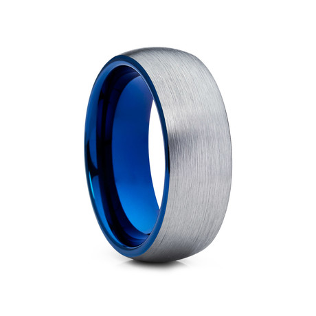 8mm Dome Tungsten Ring // Blue + Silver (Size 8)