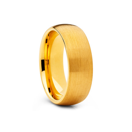8mm Dome Tungsten Ring // Gold