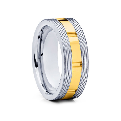 8mm Grooved Flat Tungsten Ring // Gold + Silver (Size 8)