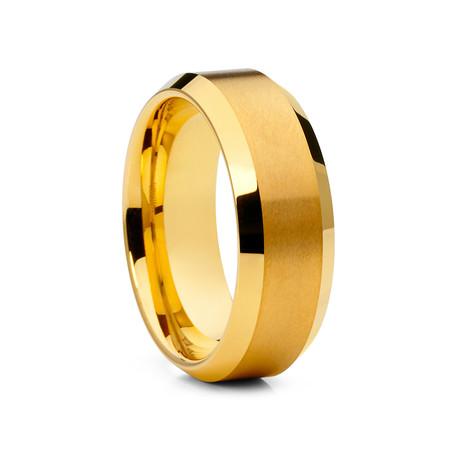 8mm Beveled Tungsten Ring // Gold