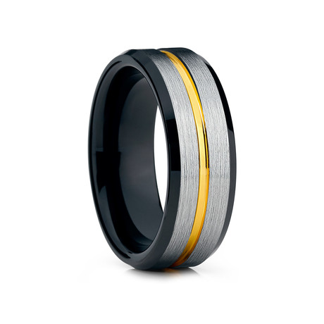 8mm Grooved Tungsten Ring // Black + Silver + Gold (Size 8)