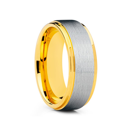 8mm Stepped Edges Brushed Tungsten Ring // Gold + Silver (Size 8)