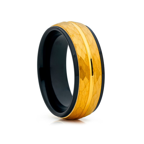 8mm Hammered Dome Tungsten Ring // Gold + Black (Size 8)