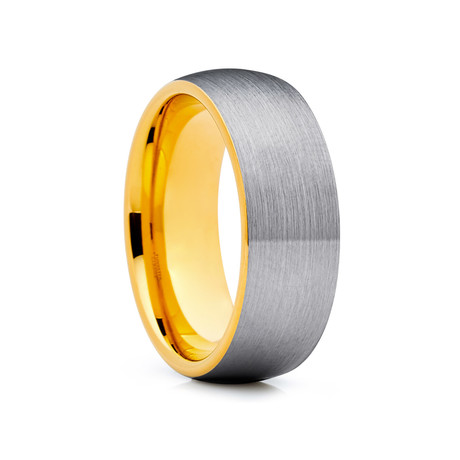 8mm Dome Tungsten Ring // Silver + Gold (Size 8)