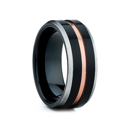 8mm Tungsten Ring // Black + Rose Gold (Size 8)