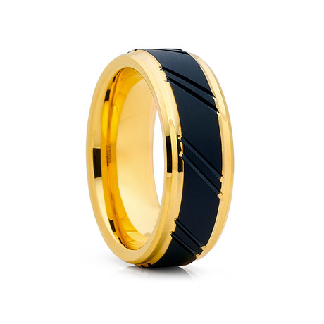 8mm Tungsten Ring // Black + Gold (Size 8)