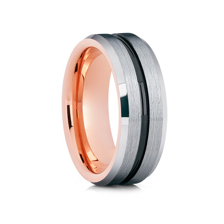8mm Grooved Tungsten Ring // Silver + Rose Gold
