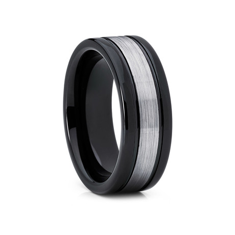 8mm Flat Grooved Tungsten Ring // Black + Silver (Size 8)