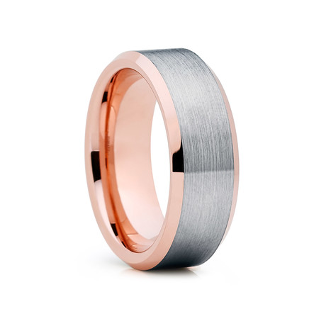 8mm Beveled Tungsten Ring // Rose Gold + Silver (Size 8)