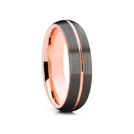 6mm Center Grooved Dome Tungsten Ring // Gunmetal + Rose Gold