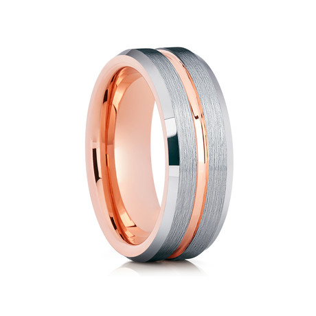 8mm Brushed Tungsten Ring // Silver + Rose Gold (Size 8)