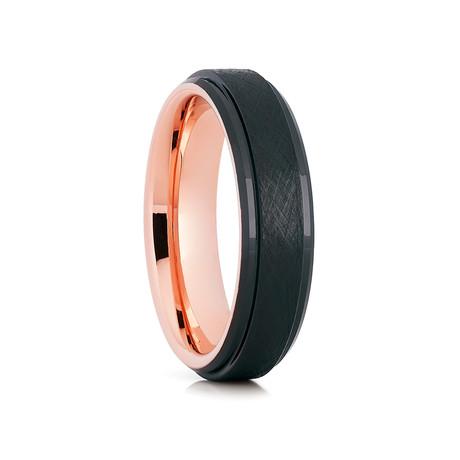 6mm Olivit Brushed Tungsten Ring // Black + Rose Gold (Size 8)