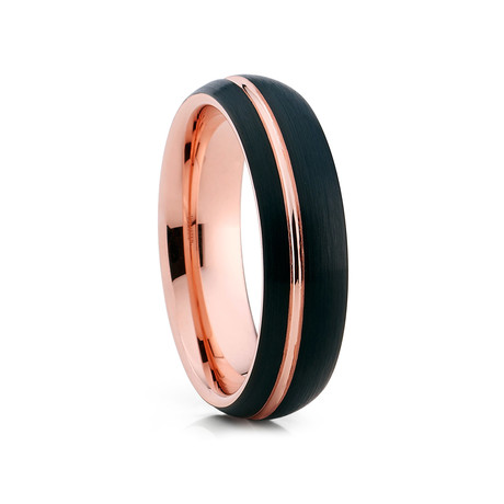 6mm Offset Groove Dome Tungsten Ring // Black + Rose Gold (Size 8)