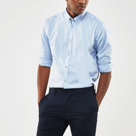 Contrast Trimmed Placket Slim Fit Shirt // Blue (S)