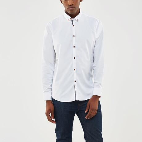 Denim Trimmed Placket Slim Fit Shirt // White (S)
