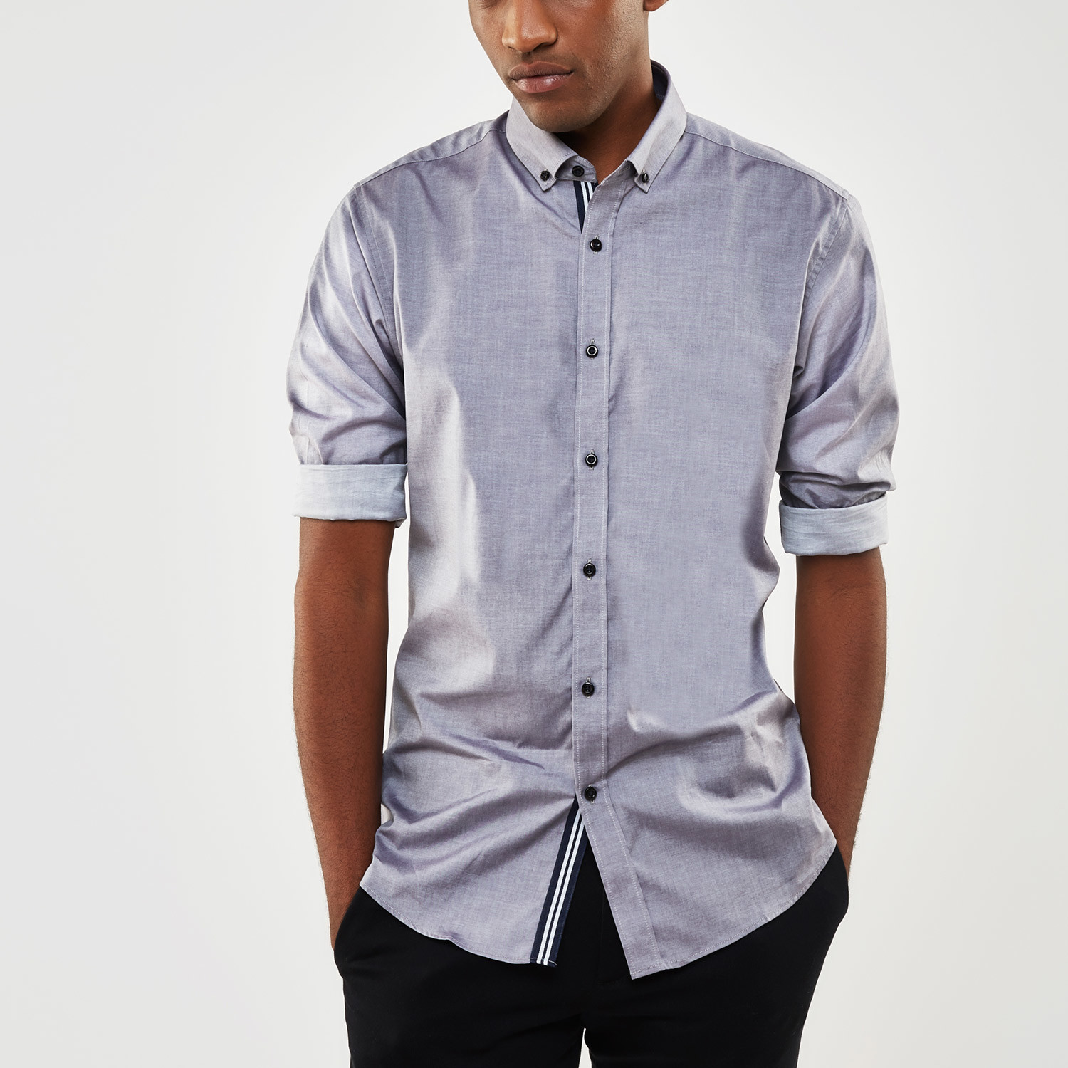 Ribbon trimmed placket slim fit chambray shirt grey for Chambray 7 s