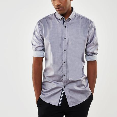 Ribbon Trimmed Placket Slim Fit Chambray Shirt // Gray + Black (S)