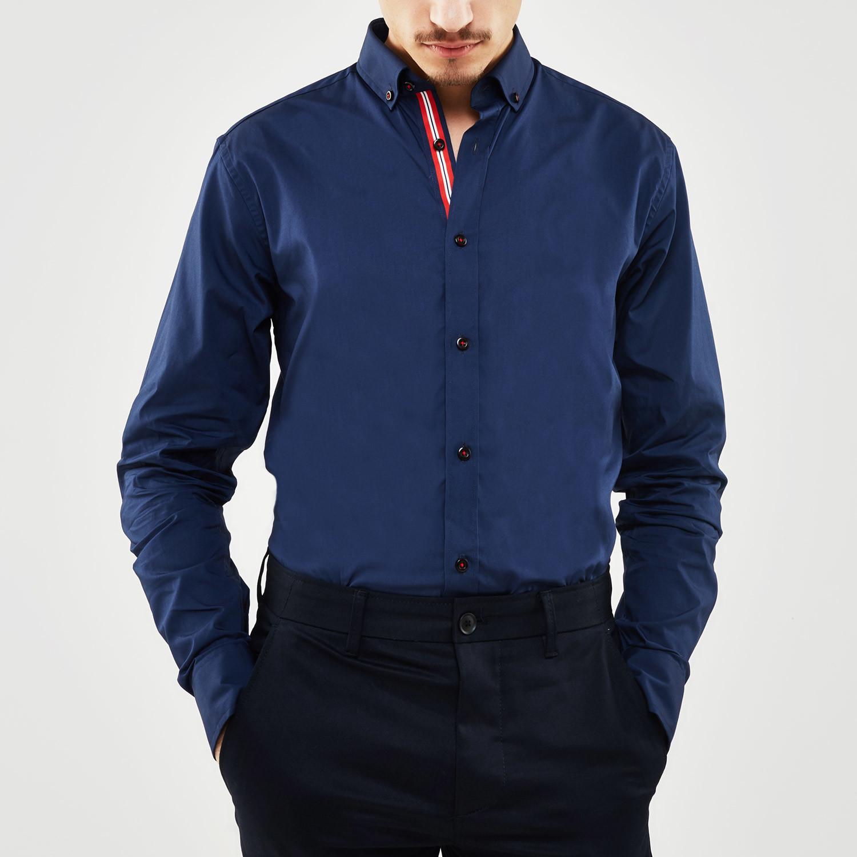 Contrast trimmed placket slim fit shirt navy s for Navy slim fit shirt