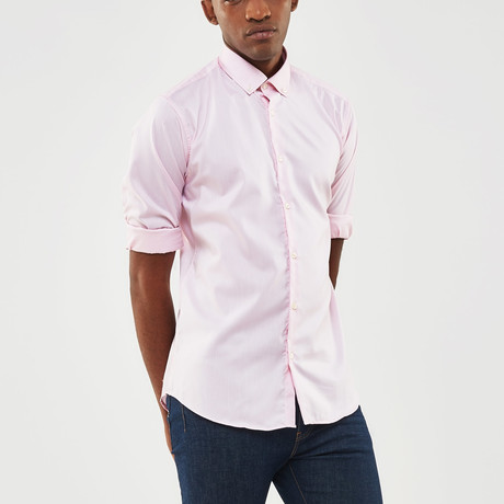 Solid Slim Fit Shirt // Pink (S)