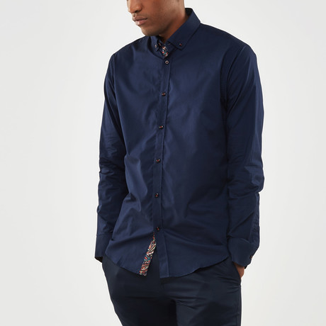 Paisley Contrast Placket Slim Fit Shirt // Navy