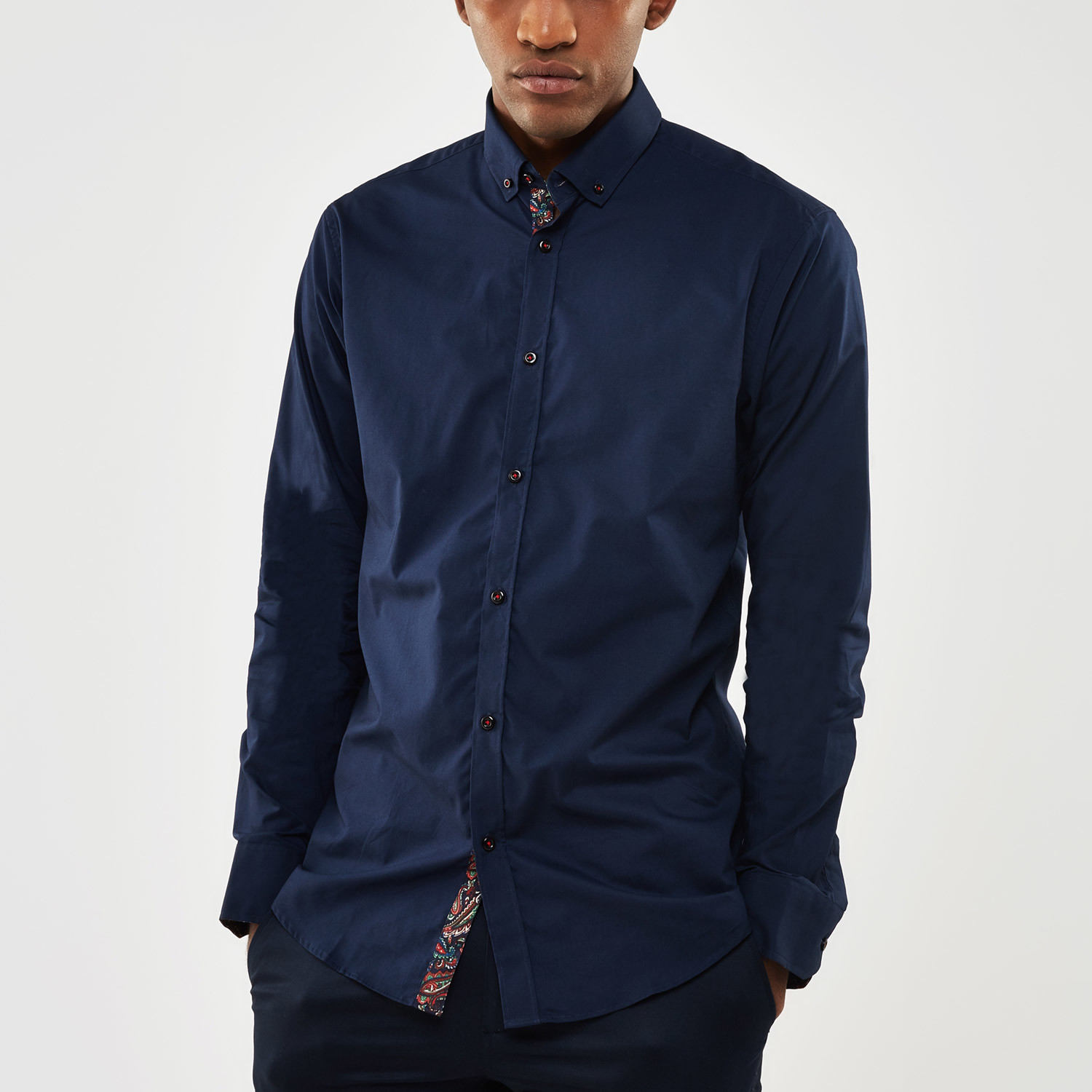 Paisley contrast placket slim fit shirt navy s for Navy slim fit shirt