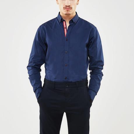 Contrast Trimmed Placket Slim Fit Shirt // Navy (S)
