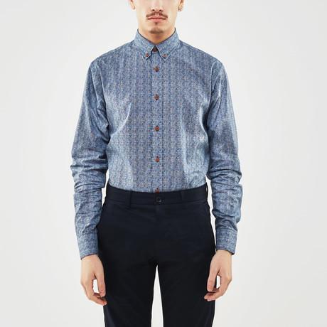 Irregular Grid Slim Fit Shirt // Blue (S)