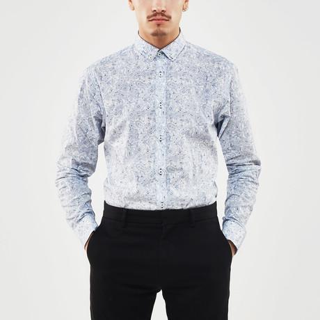 Paisley Slim Fit Shirt // Blue + White (S)