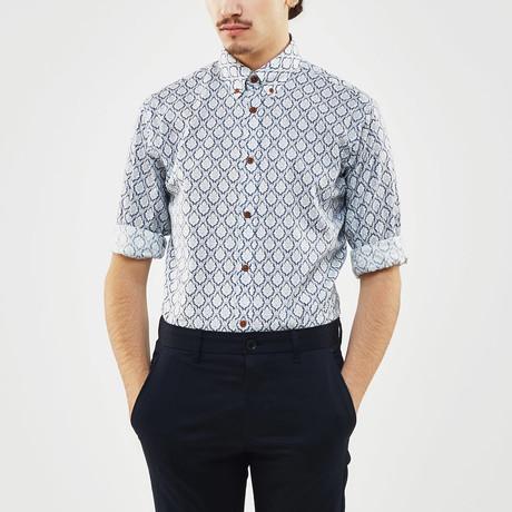Diamond Scroll Slim Fit Shirt // Blue + White (S)
