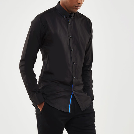 Ribbon Trimmed Placket Slim Fit Poplin Shirt // Black + Blue (S)