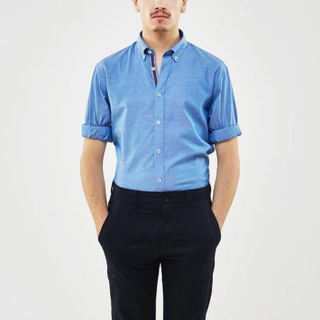 Ribbon Trimmed Placket Slim Fit Chambray Shirt // Blue + Burgundy (S)