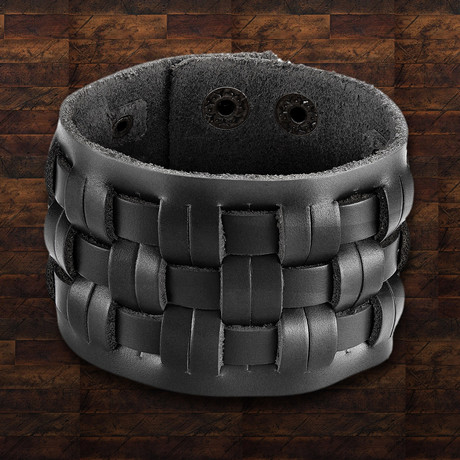 Leather Basket Weave Cuff Bracelet // Black