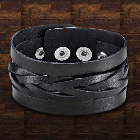 Leather Weaved Cut Out Center Cuff Bracelet // Black