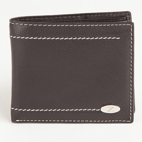 Samuel Contrast Stitch Wallet // Brown