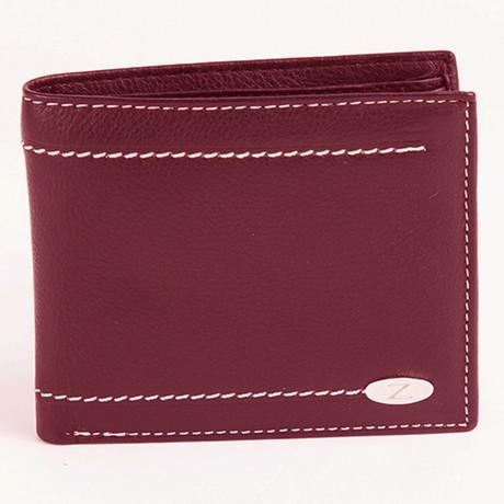 Samuel Contrast Stitch Wallet // Cherry