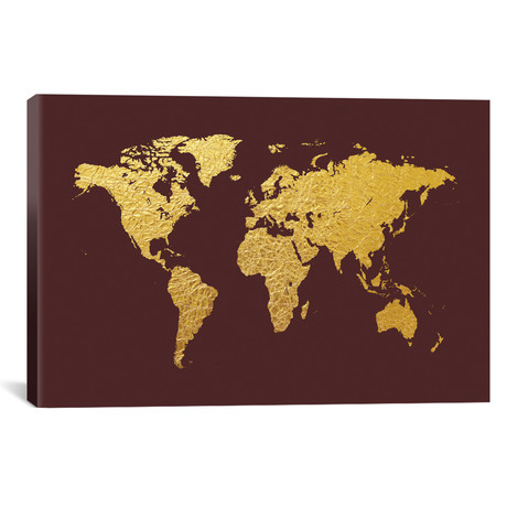 World Map Series: Gold Foil on Cordovan
