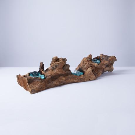 Triple Tea Light Candle on Wood