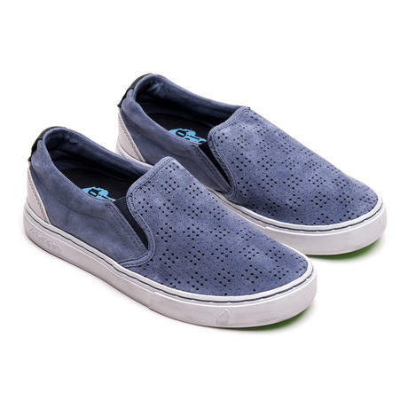 Soumei Perforated Suede Perforated Slip-On // Cool Grey