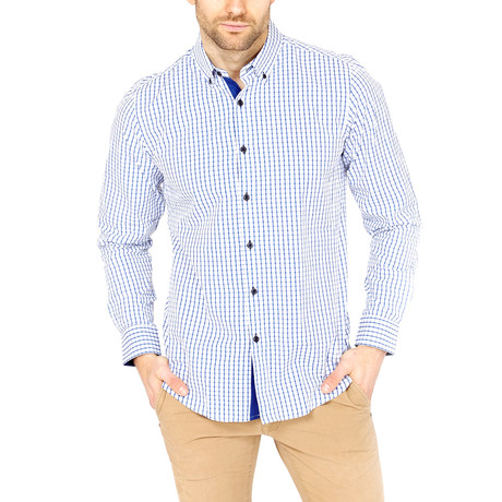 Cross Print Business Button-Down // White + Blue