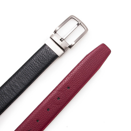 Sanz Reversible Belt // Black + Bordeaux (Size 95 cm)