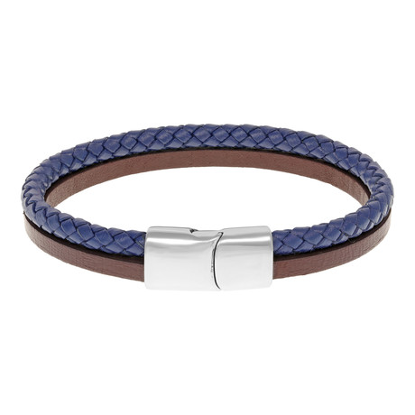 Double Strap Braided Leather Bracelet // Blue + Brown