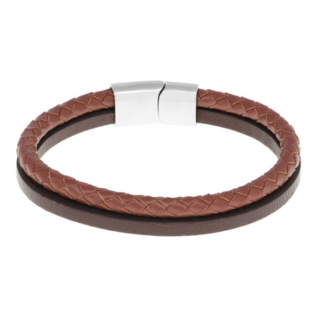 Double Strap Braided Leather Bracelet // Brown + Black