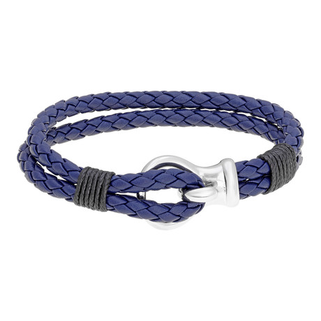 Hook and Loop Double Braided Leather Bracelet // Blue + Black