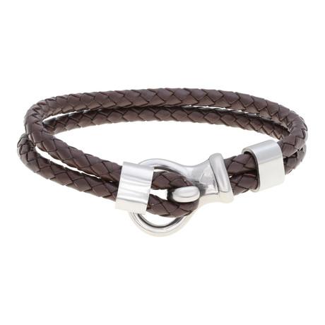 Hook and Loop Double Braided Leather Bracelet // Brown